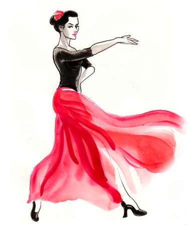 Beautiful woman dancing Flamenco. Ink and watercolor illustration Stock fotó
