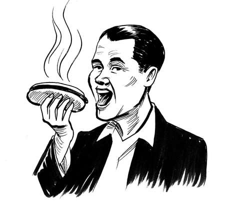 Happy man eating a hot dog isolated on white