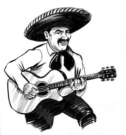 Mexican musician in sombrero hat playing guitar drawing on white