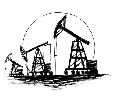 Oil rigs. Ink black and white drawing
