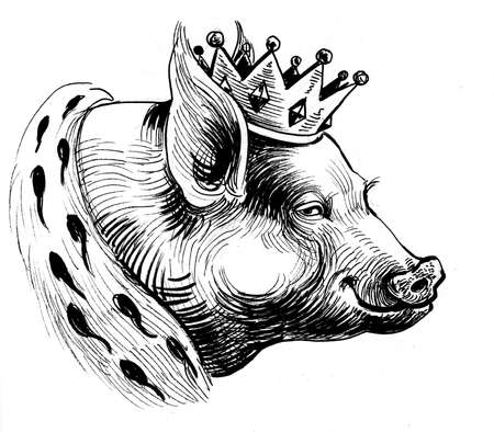 Pig in crown, Ink black and white drawing