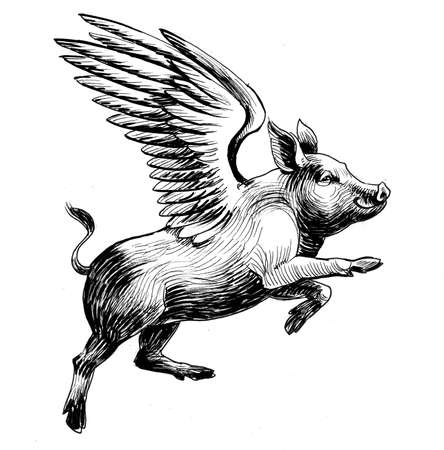 Flying pig. Ink black and white drawing