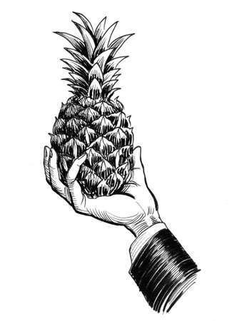 Hand holding pineapple fruit. Ink black and white drawing