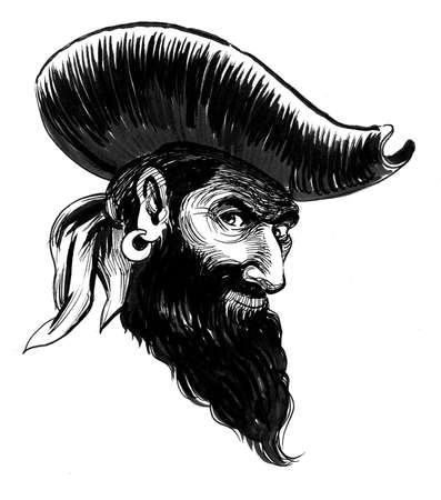 Pirate captain drawing on white