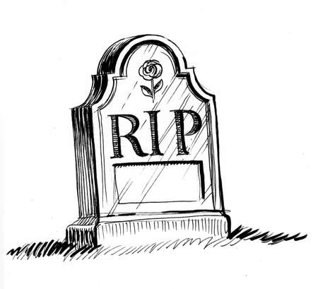 Tomb stone with RIP letters drawing on white