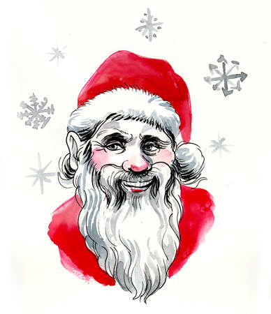 Smiling Santa Clause and snow flakes drawing on white 版權商用圖片