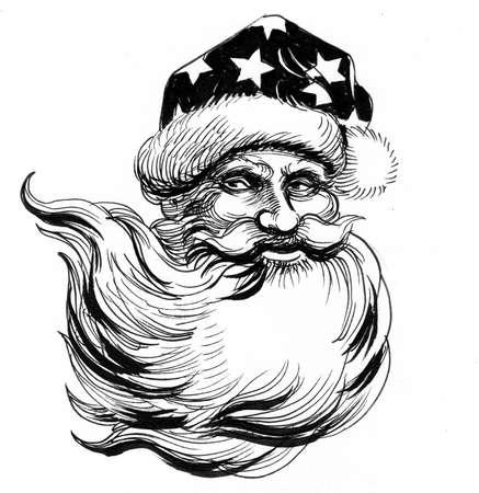Santa Clause portrait drawing on white 版權商用圖片