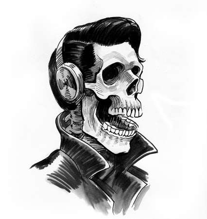 Human skeleton in leather jacket and headphones. Ink black and white drawing