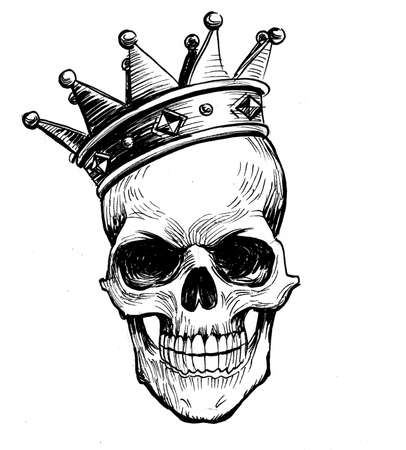 Human skull in crown, Ink black and white drawing Фото со стока