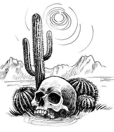 Human skull in the Mexican desert. Ink black and white drawing Фото со стока