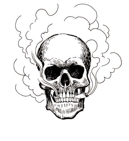 Smoking skull. Ink black and white drawing Фото со стока