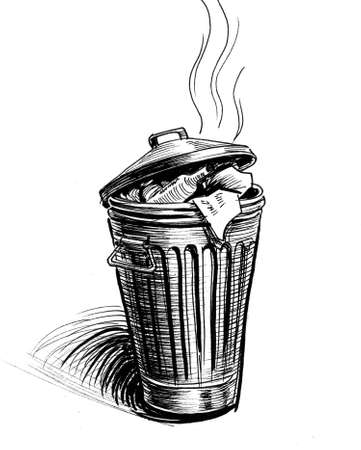 Old trash can. Ink black and white drawing