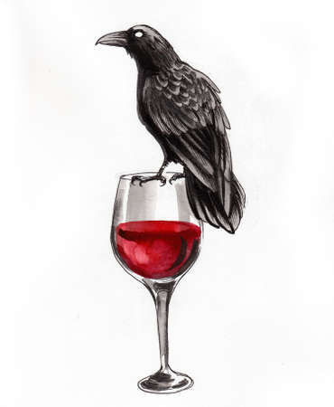 Glass of red wine and black raven. Ink and watercolor drawing Фото со стока