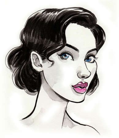 Pretty brunette woman drawing on white