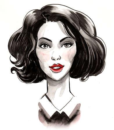 Pretty woman face drawing on white 版權商用圖片