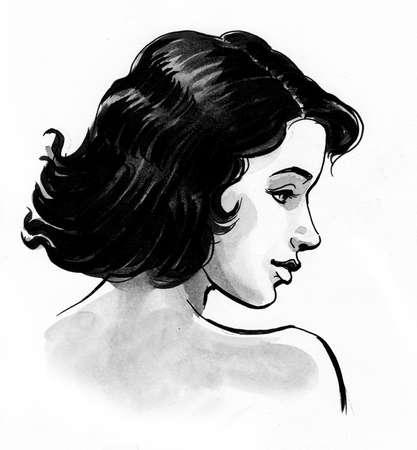 Beautiful brunette woman drawing on white 版權商用圖片