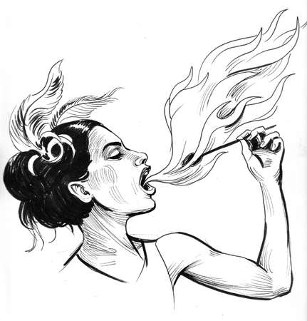 Fire eater in the circus. Ink black and white drawing