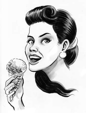 Pretty woman eating an ice cream drawing on white