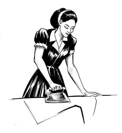 Housewife ironing a shirt drawing on white
