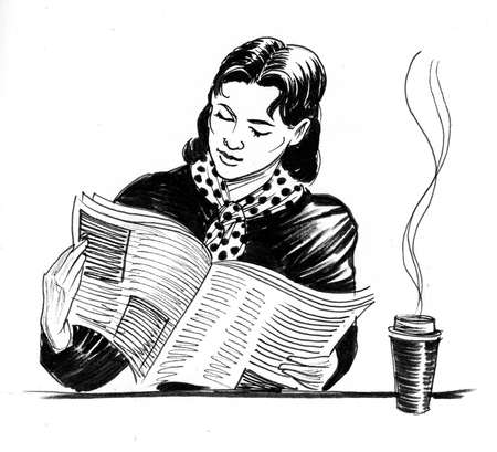 Pretty woman reading newspaper and drinking coffee drawing on white
