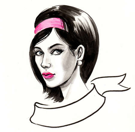 Pretty woman with retro hairstyle. Ink and watercolor illustration 版權商用圖片