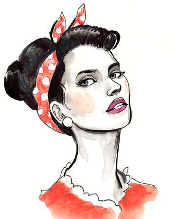 Pretty pinup woman. Ink and watercolor illustration