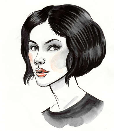 Beautiful woman with a haircut. Ink and watercolor illustration 版權商用圖片