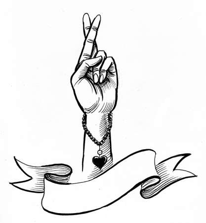 Hand with crossed fingers and blank banner. Ink black and white drawing