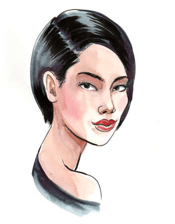 Pretty Asian woman with a haircut. Ink and watercolor illustration