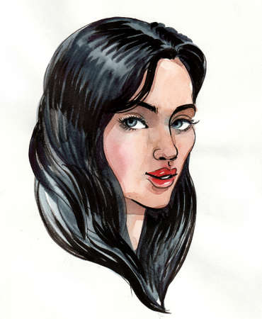 Beautiful woman with long black hair. Ink and watercolor illustration