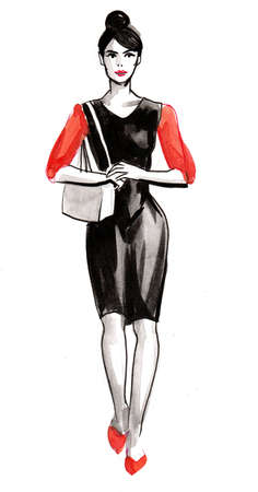 Woman in black dress. Ink and watercolor illustration