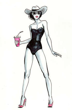 Pretty woman in swimming suit. Ink and watercolor illustration