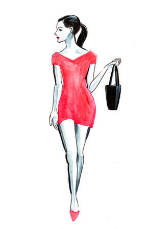 Pretty woman in red dress with a bag. Ink and watercolor illustration