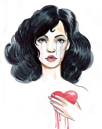 Pretty woman with bleeding heart. Ink and watercolor illustration