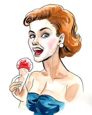 Pretty woman eating ice cream. Ink and watercolor illustration