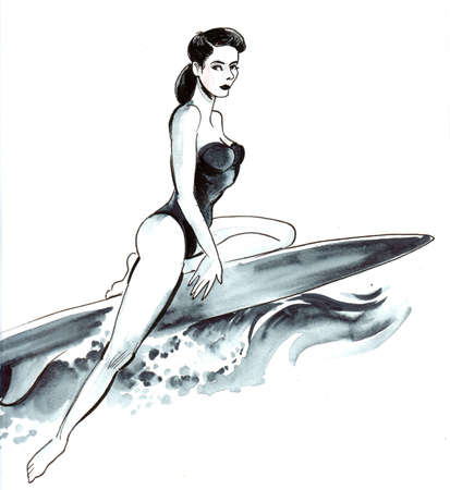 Pretty woman on surfing board. Ink and watercolor ilustration