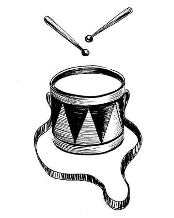 Drum with drum sticks. Ink black and white drawing