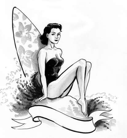 Pretty woman with a surfing board. Ink and watercolor illustration 版權商用圖片
