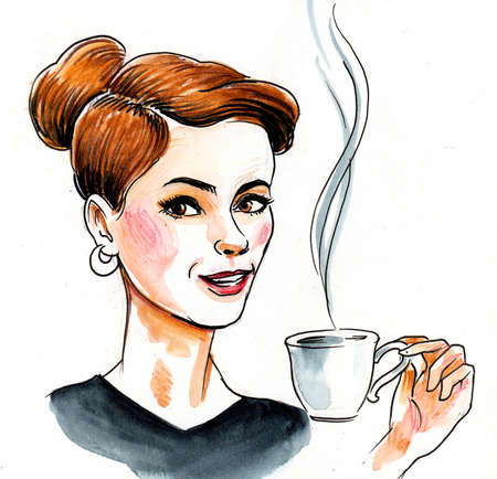 Pretty woman drinking a cup of coffee. Ink and watercolor illustration
