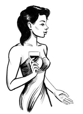 Pretty woman with a glass of wine. Ink black and white drawing