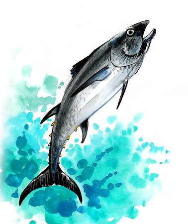 Jumping tuna fish. Ink and watercolor illustration
