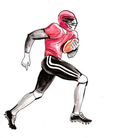 Running American football player. Ink and watercolor drawing