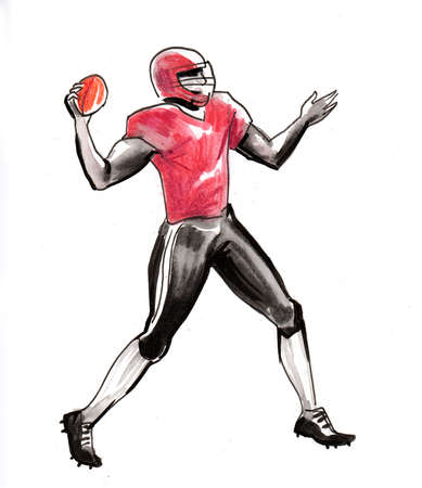 American football player throwing a ball. Ink and watercolor illustration