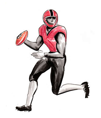 American football player. Ink and watercolor illustration