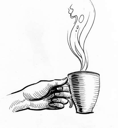 Hand holding hot cup of tea. Ink black and white drawing 版權商用圖片