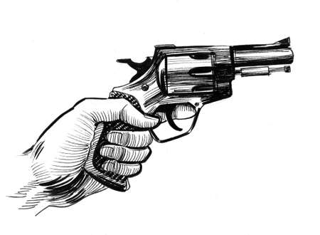 Hand holding revolver gun. Ink black and white drawing