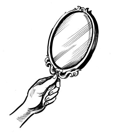 Hand holding mirror. Ink black and white drawing