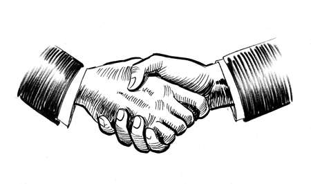 Strong handshake. Ink black and white drawing