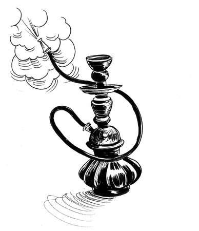 Smoking hookah. Ink black and white drawing