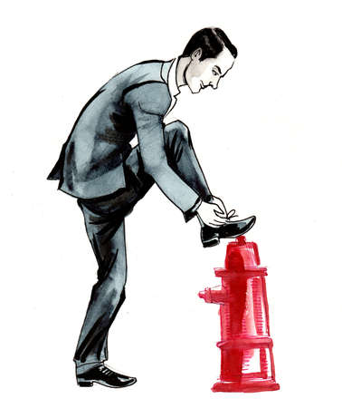 Man tying shoe laces. Ink and watercolor illustration 版權商用圖片